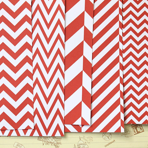 set 02 red chevron mix printed card stock