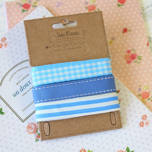 blue AC jane means trio ribbon set