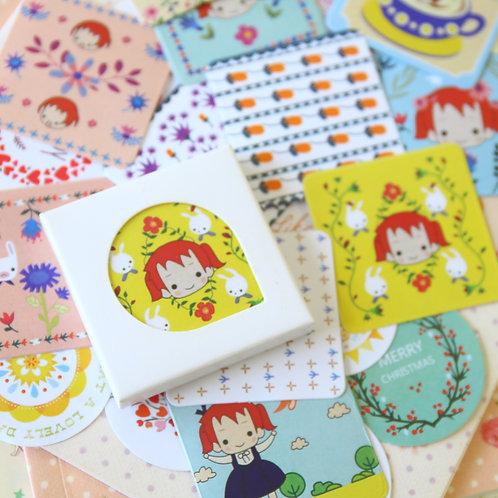 cute girl cartoon point stickers
