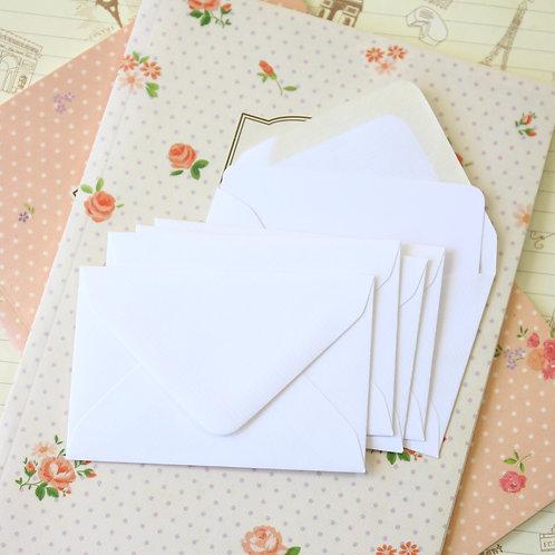 laid white colour mini envelopes & note cards