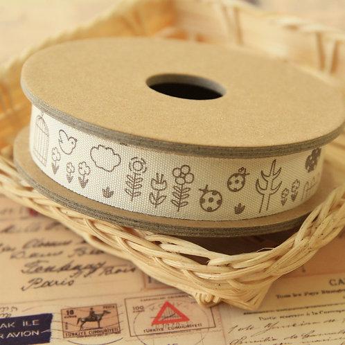 bird & flower cartoon cotton sewing tape ribbon