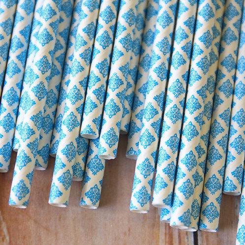 dark aqua damask paper straws
