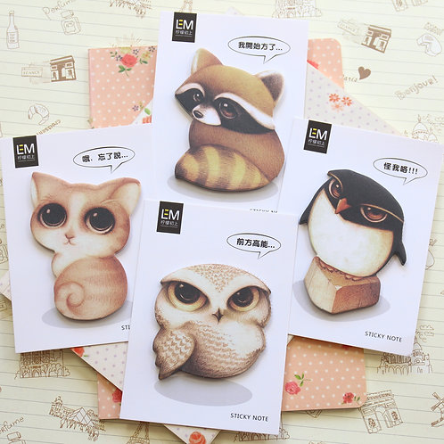 forest animal shapes cartoon sticky notes