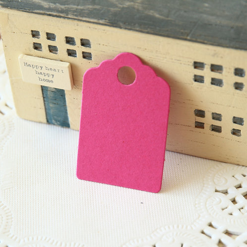 magenta pink scallop swing tags