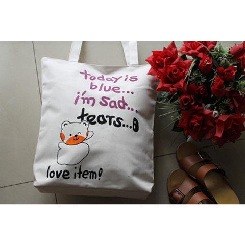 cute bear cartoon canvas tote bag