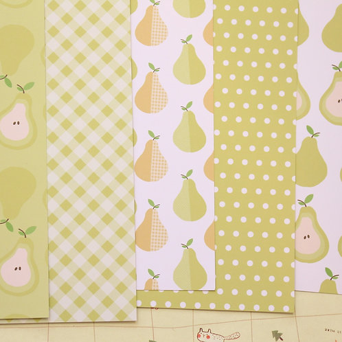set 01 pears mix printed card stock