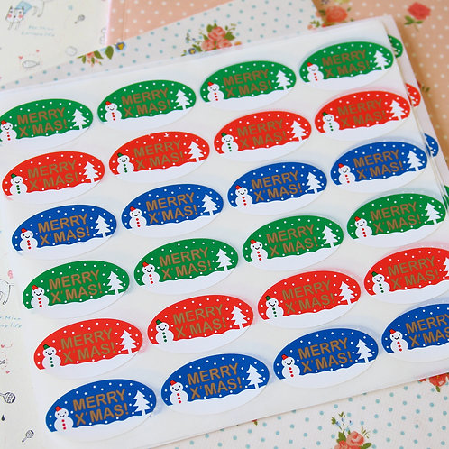 oval snowman merry xmas cartoon sticker seals
