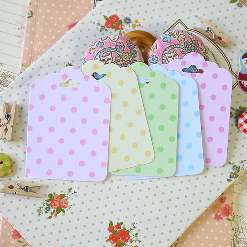 pastel dots ornate scallop tags