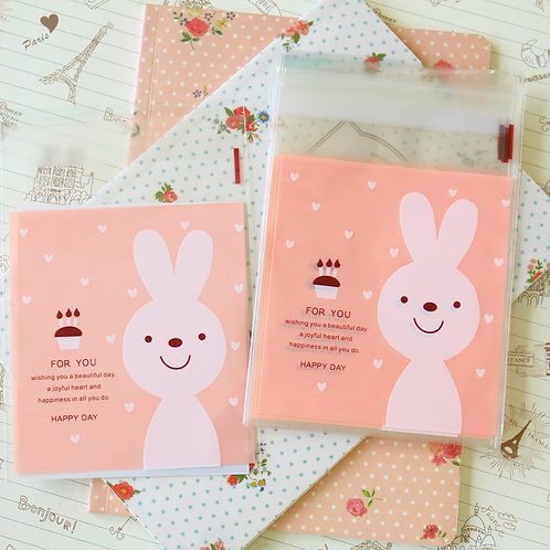happy day pink bunny cello bags