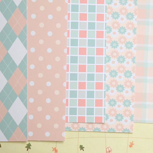 set 02 peachy patterns mix printed card stock