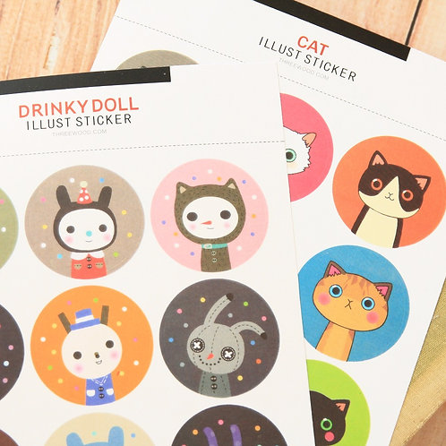 drinky doll & cat cartoon stickers