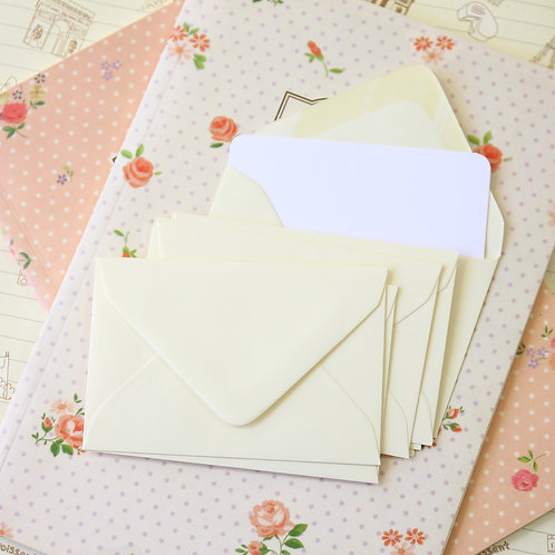 ivory colour mini envelopes & note cards