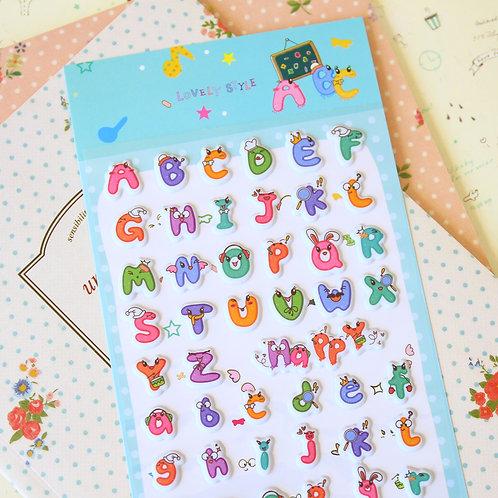 alphabet cartoon puffy stickers