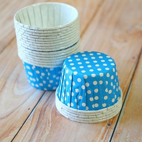 aqua blue polka dots paper candy cups cupcake liner