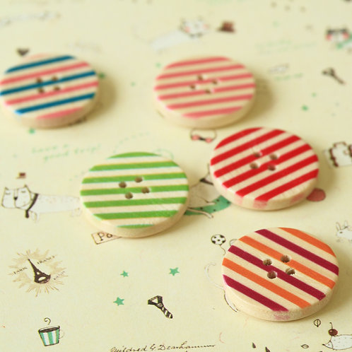 stripe printed wooden buttons
