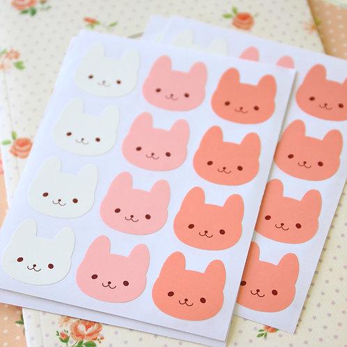 bunny rabbit cartoon sticker seals
