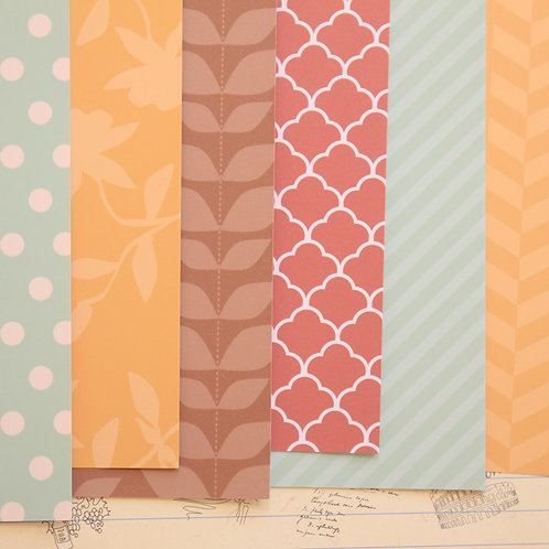 set 02 red brown & blue mix patterns printed card stock