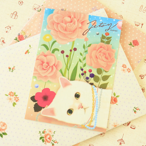 pink rose choo choo cat cartoon postcard