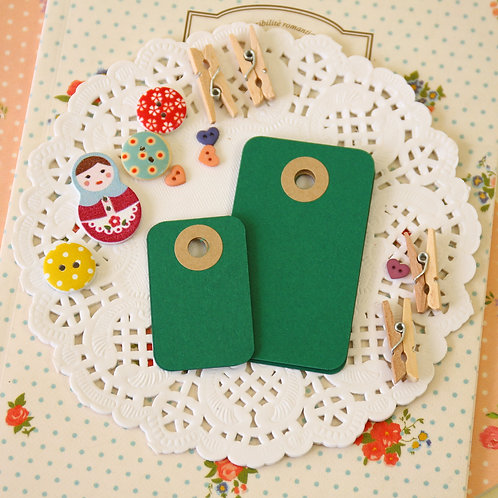 holly green rounded rectangle tags