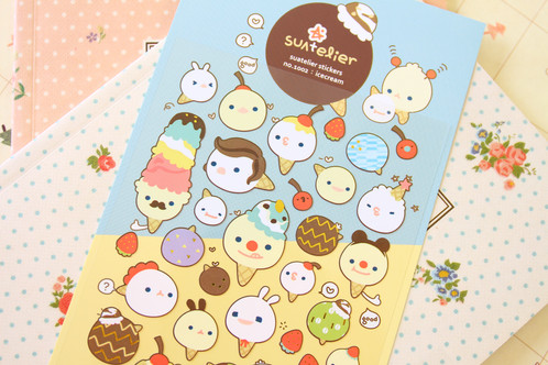 suatelier ice cream cartoon deco stickers