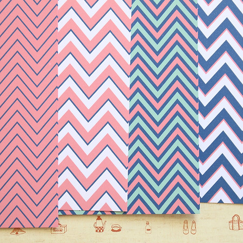set 02 navy mint pink chevrons mix printed card stock