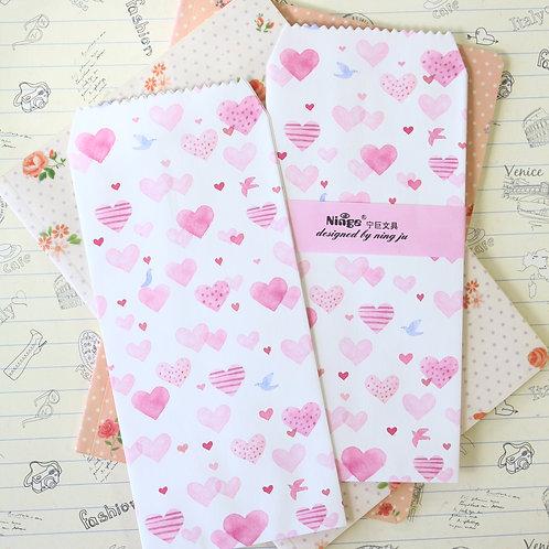 hearts & birds natural pattern tall envelopes