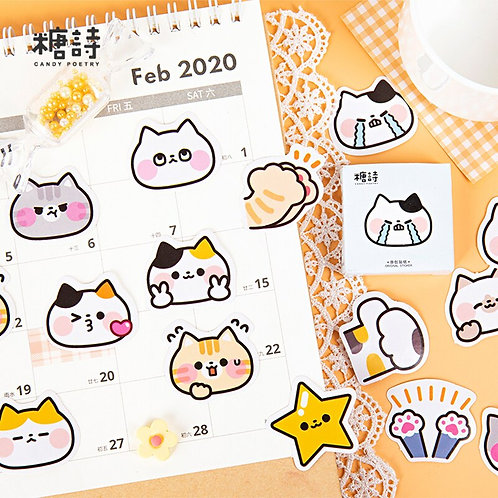 sad cat candy poetry cartoon cute shapes stickers