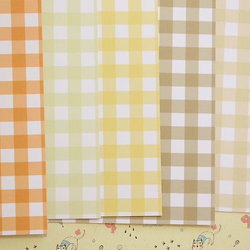 set 01 colorful gingham mix printed card stock