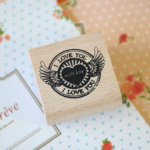 i love you heart wings rubber stamp