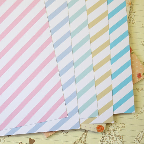 set 03 pastel stripes mix printed card stock