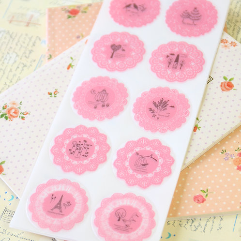 light pink fancy lace round deco stickers