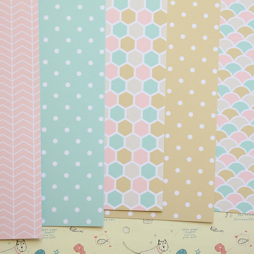 set 03 gold mint pink mix printed card stock
