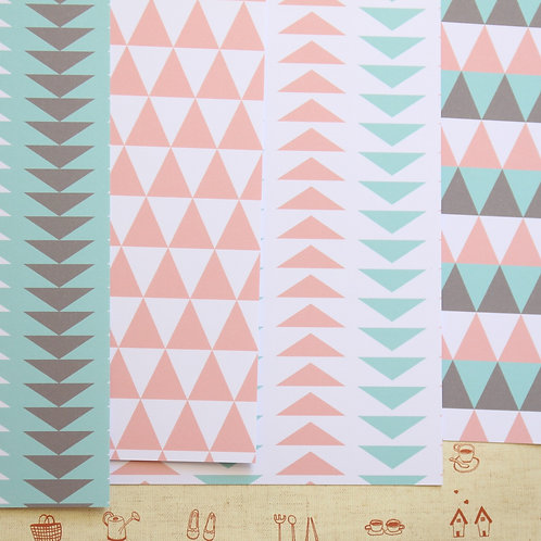 set 01 tribal mint coral mix printed card stock