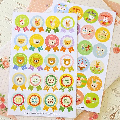 toto rabbit & cat cartoon deco stickers