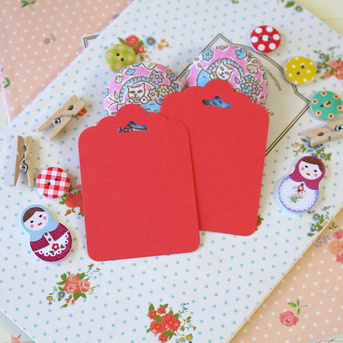 poppy red vintage series ornate scallop tags