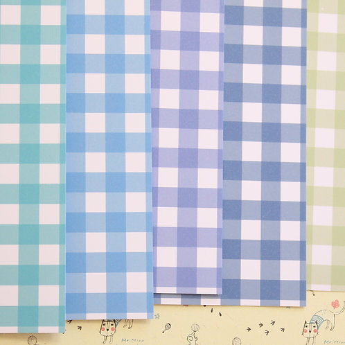 set 05 colorful gingham mix printed card stock