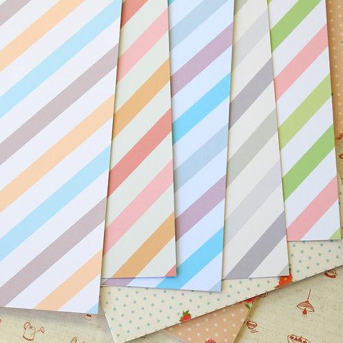set 01 pastel ice cream stripes mix printed card stock