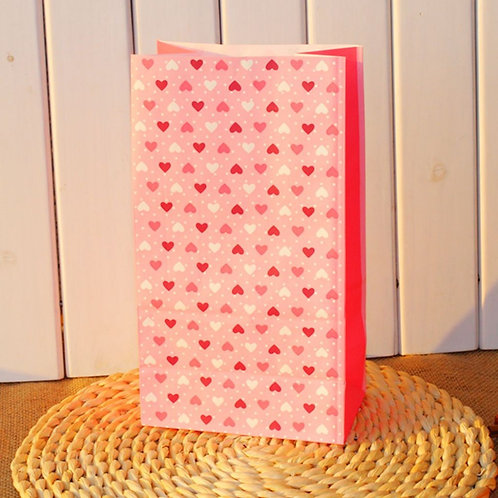 pink love hearts paper bags