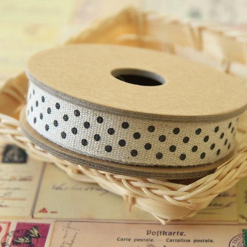 black polka dot linen blend ribbon