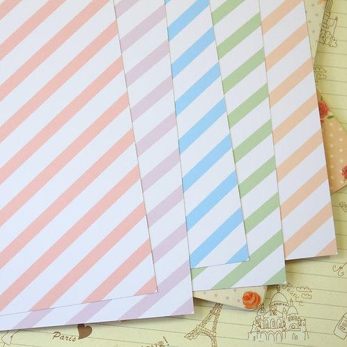set 02 pastel stripes mix printed card stock
