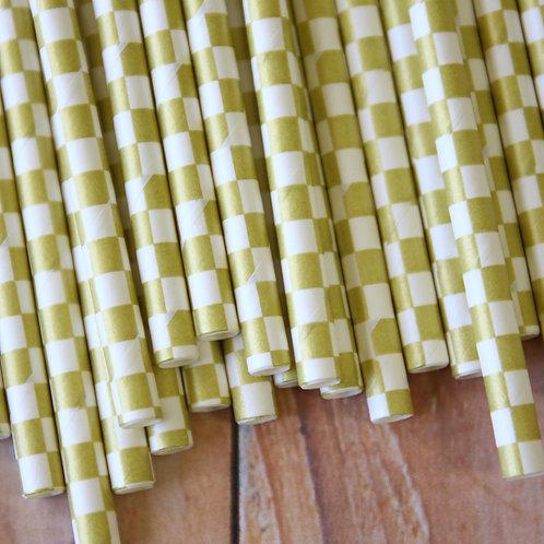 metallic gold checkers paper straws