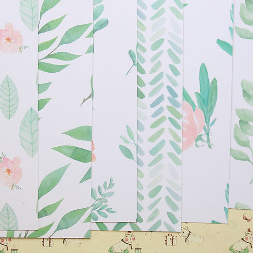 set 02 mint leaves mix cartoon printed card stock
