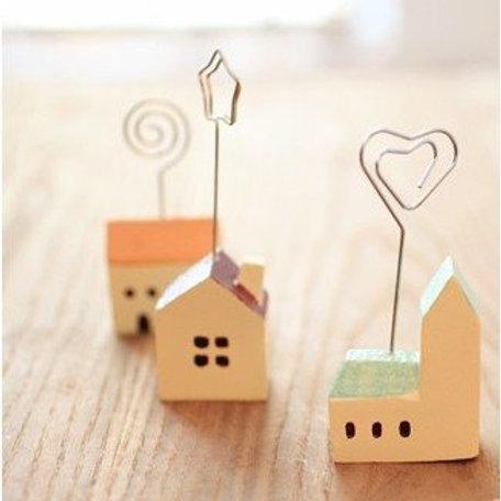 pastel houses wood memo clip note holder