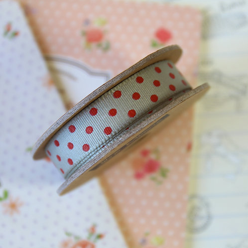 jane means grey & red polka dot ribbon