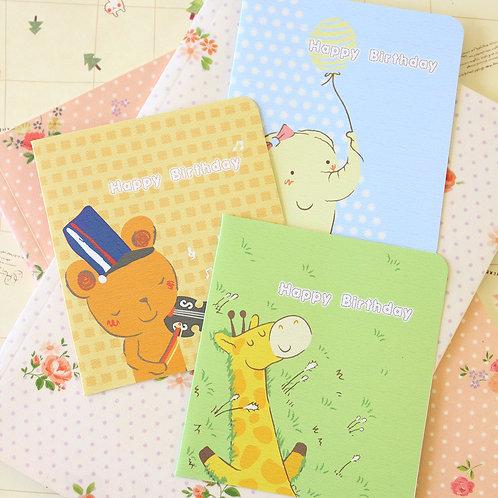 cute cartoon greeting cards giraffe bear elephant