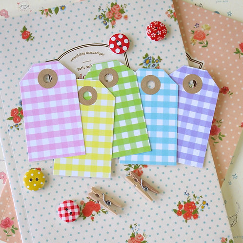 pastel gingham luggage tags
