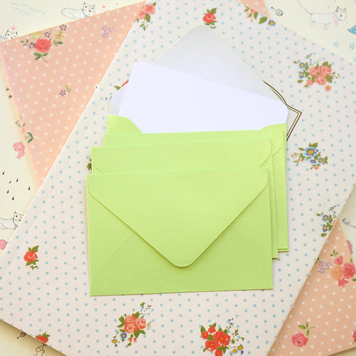 lime green pearlescent mini envelopes & notecards