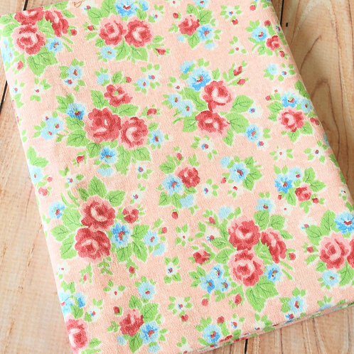 peach pink shabby floral cotton linen blend fabric