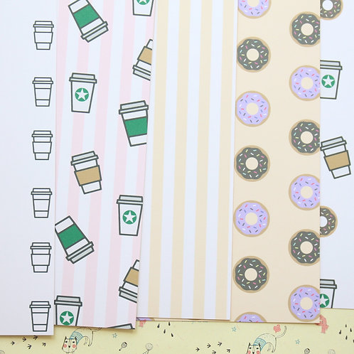 set 02 coffee and donut patterns printed card stock