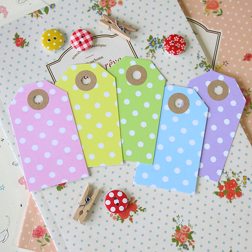 white polka dot pastel luggage tags
